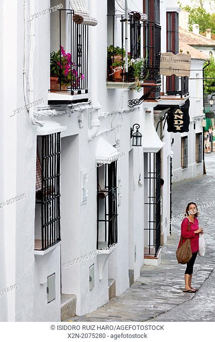 Street view. Town of Grazalema, Natural Park of Sierra de Grazalema. Ruta de los Pueblos Blancos. Cádiz. Andalucia. Spain