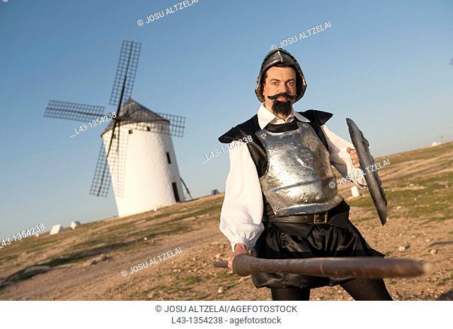 Don quijote in the Windmills of campo de criptana, ciuidad real province, castile la mancha, spain