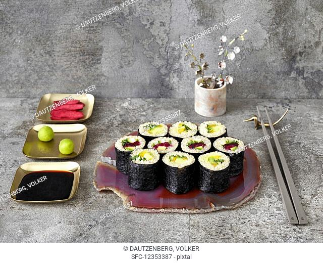 Quinoa sushi; vegetarian and with smoked salmon