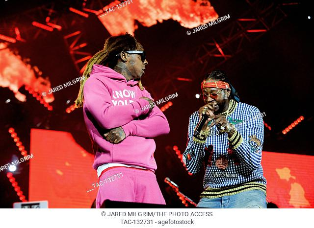 (L-R) Lil Wayne and 2 Chainz perform at the BET Experience concert at Staples Center on June 25, 2016 in Los Angeles, California