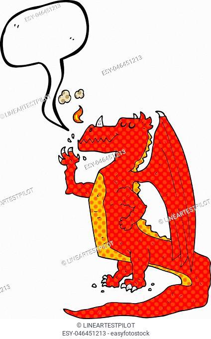 freehand drawn comic book speech bubble cartoon happy dragon
