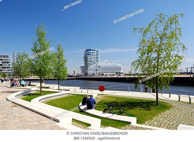 Dalmannkai Promenade and Grasbrookhafen harbour, Hafencity, Hamburg, Germany, Europe