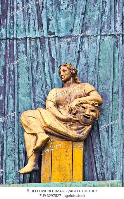 Façade relief bronze of figure representing the Muse of Tragedy, Staerekassen, Royal Danish Theatre, Copenhagen, Denmark, Scandinavia