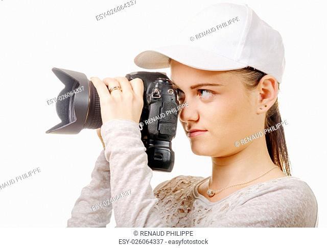 a young photographer woman with white cap isolated on white