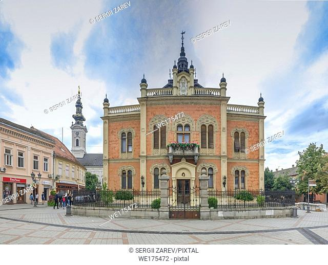 Novi Sad, Serbia - 07-18-2018. Panoramic View of the Bishop Palace in Novi Sad, Serbia in a cloudy summer day