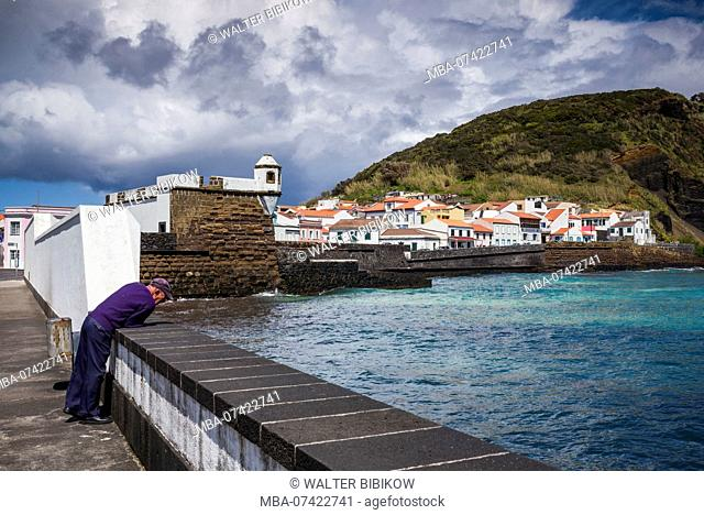 Portugal, Azores, Faial Island, Horta, the old harbor of Porto Pim and the Forte de Sao Sebastiao fort