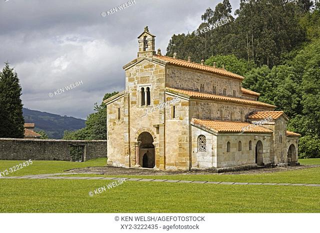 Iglesia de San Salvador de Valdediós (the church of the Holy Savior of Valdediós) near Villaviciosa, Asturias, Spain. The pre-romanesque church was founded in...