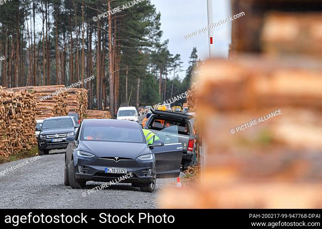 17 February 2020, Brandenburg, Grünheide: A Tesla brand electric vehicle stands on a site road next to pine logs on the future Tesla Gigafactory site