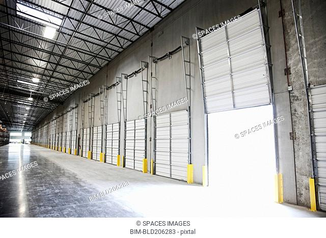 Open door at loading dock in warehouse