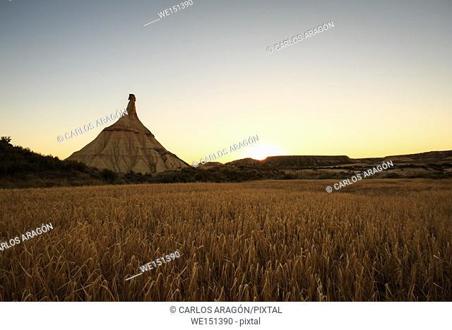 Castildetierra, desert landscape in Bardenas Reales of Navarra, Spain
