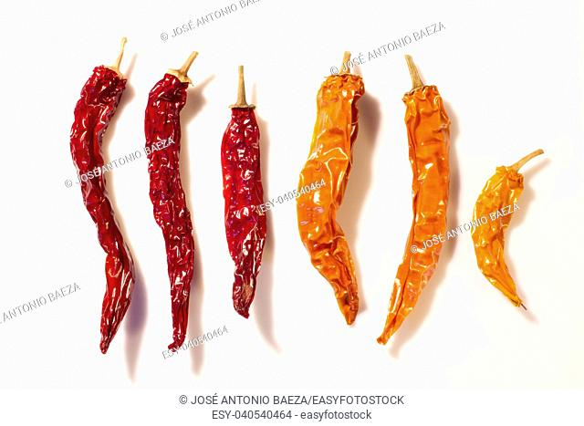 Dried peppers isolated on a white background