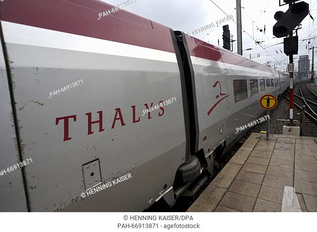 A Thalys high-speed train headed to Paris departs the central railway station in Cologne, Germany, 23 March 2016. The rail traffic to Brussels was reopened a...