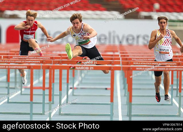 Belgian athlete Jente Hauttekeete pictured in action during the 110m hurdles race of the men's decathlon competition, at the World Athletics U20 Championships