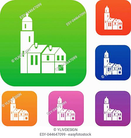 Houses set icon in different colors isolated vector illustration. Premium collection