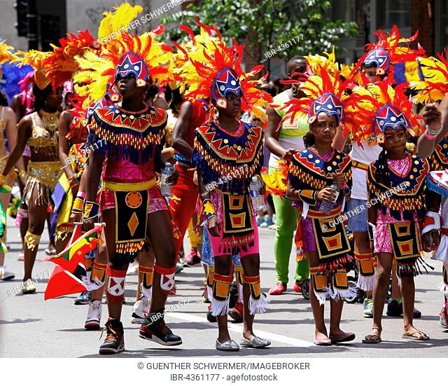 Participants of the Carifiesta parade, Caribbean Festival, Montreal, Quebec Province, Canada