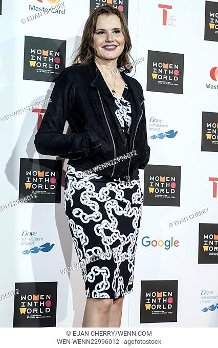 Celebrities attends Women in the World Summit in Sloane Square, London. Featuring: Geena Davis Where: London, United Kingdom When: 08 Oct 2015 Credit: Euan...