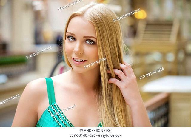 Close up, Beautiful young blonde woman