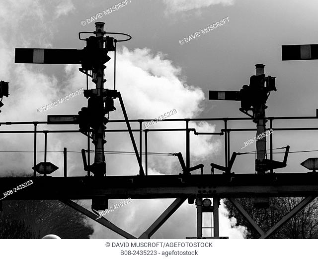 signals at Grosmont station,on The North Yorkshire Moors Railway,Yorkshire,UK