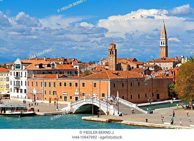 Europe, Italy, IT, Veneto, Venice, Riva San Biasio Castello, promenade, house front, pier, bridge, typical, architecture, building, construction, harbour, port