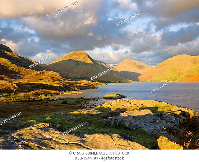 View over Wastwater of Yewbarrow, Great Gable and Lingmell Fells at Wasdale Head in the Lake District National Park, Cumbria, England, United Kingdom