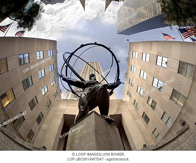 A fisheye View of the statue of Atlas in front of the Rockefeller Centre on Fifth Avenue