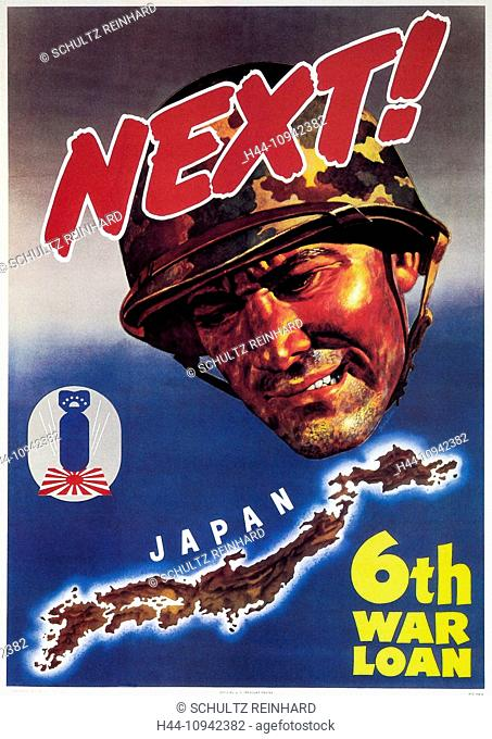 World War II, Second World War, world war, war, poster, Propagana, propaganda poster, USA, American, soldier, helmet, Japan, war loan, war bond, bomb, flag