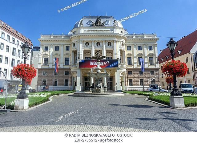 The old Slovak National Theatre building on Hviezdoslav Square, Bratislava, Slovakia, Europe