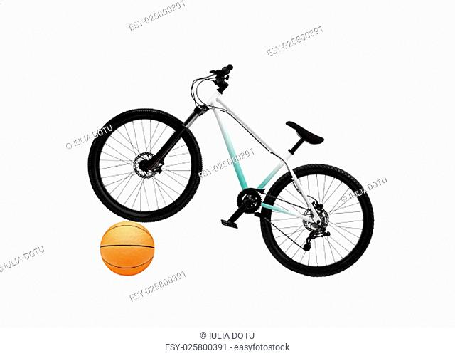 Bicycle and basketball isolated on white