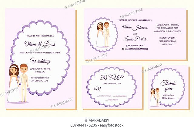 Wedding invitation, rsvp, thank you cards. Invite templates. Card with bride and groom. Vector graphics. Holiday marriage background