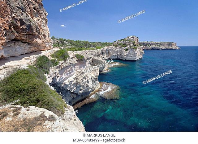 Cala de sa Comuna, close Cala S'Almonia, Santanyi, east coast, Majorca, the Balearic Islands, Spain
