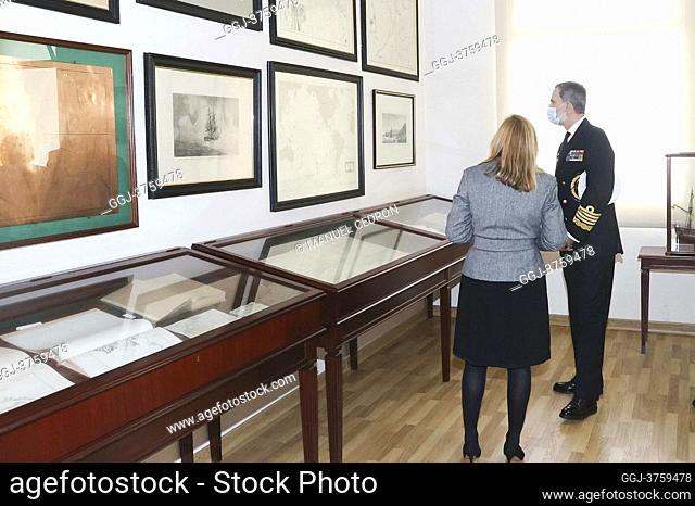 King Felipe VI of Spain visit to the Hydrographic Institute of the Navy on January 21, 2021 in Cadiz, Spain