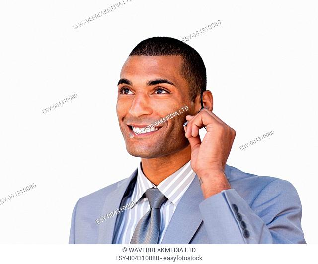 Confident Afro-american businessman with headset on