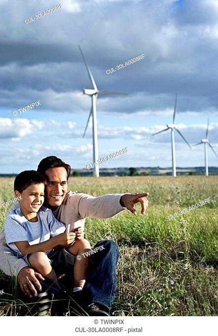 Father and son on a wind farm