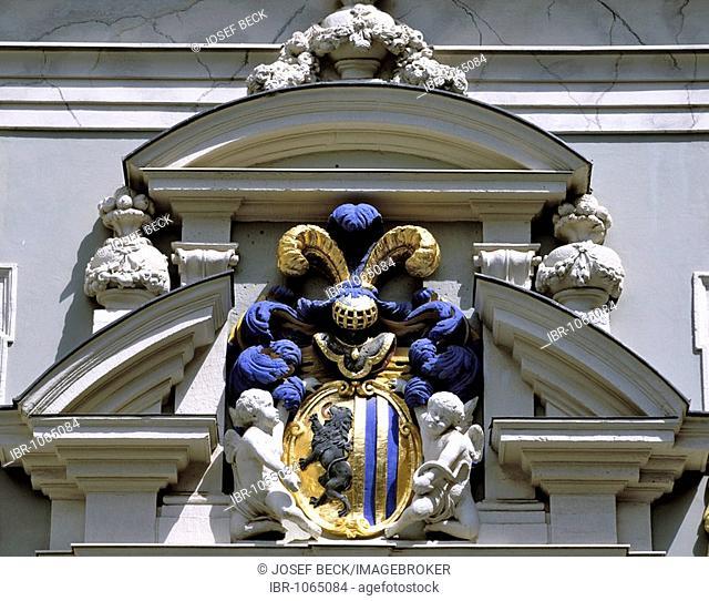 Leipzig coat of arms, on the old Handelsboerse building, Naschmarkt market, Leipzig, Saxony, Germany, Europe