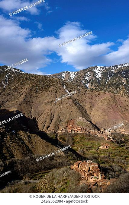 High Atlas Mountains showing Ber Ber (berber or Bier Bier) villages and homes. Azzaden Valley. Morocco