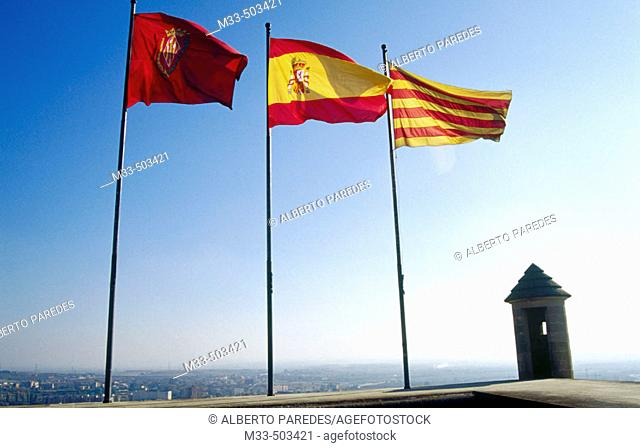 Lleida, Spanish and Catalan flags in Seu Vella. Lleida. Catalunya. Spain