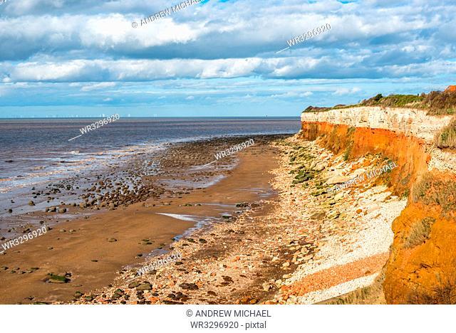 Chalk over limetone Cliffs at Old Hunstanton on the North Norfolk coast, Norfolk, England, United Kingdom, Europe