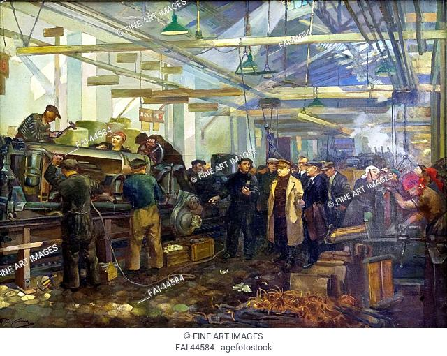 Kirov visiting the Putilov factory by Smukrovich, Pyotr Iosifovich (1878-1942)/Oil on canvas/Soviet Art/1936/Russia/State Museum- and exhibition Centre ROSIZO