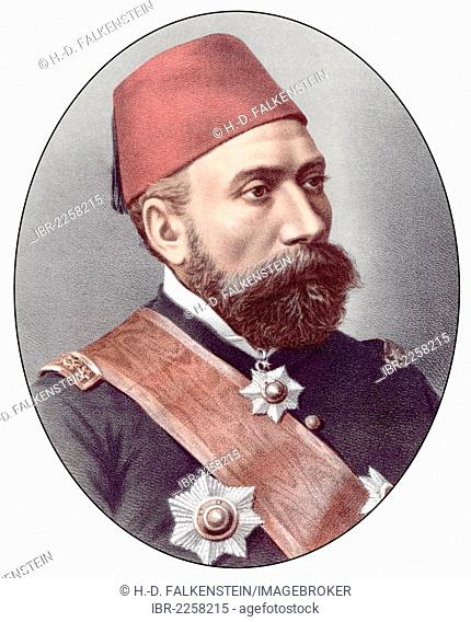 Historic chromolithography from the 19th century, portrait of Nuri Pasha Ghazi Osman, 1832 - 1900, general of the Ottoman army in the Russo-Turkish War