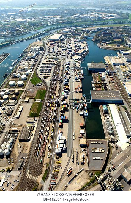 Container terminal, Duisburg, Ruhr district, North Rhine-Westphalia, Germany