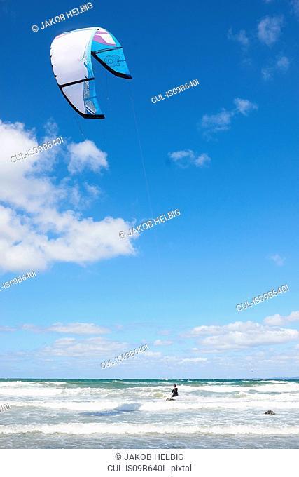 Kite surfer airborne over the sea, Hornbµk, Hovedstaden, Denmark