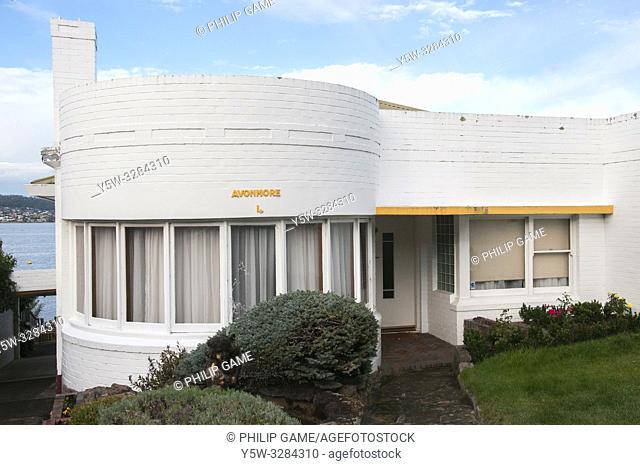 1940s house in the Ocean Liner or Streamline style at Battery Point, Hobart, Tasmania, Australia