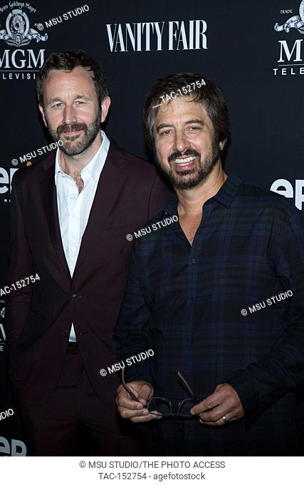 Actors Chris O'Dowd (L) and Ray Romano attend the red carpet premiere of EPIX original series 'Get Shorty' at the Pacific Design Center SilverScreen Theater on...
