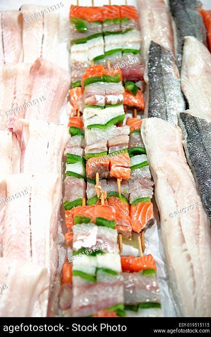 Display skewered fish