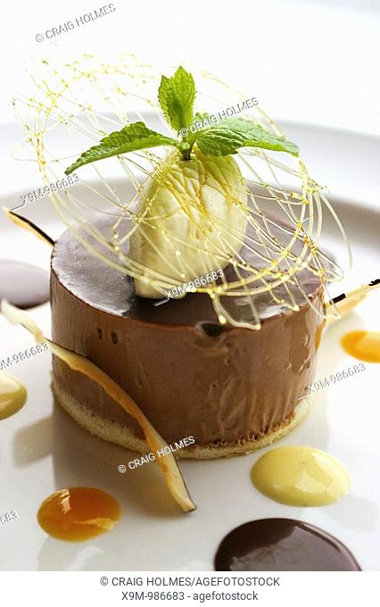 Bank restaurant, providing premium food and drinks at Brindleyplace  Food is chocolate and coconut parfait