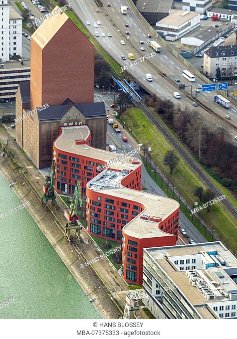 State Archives of North-Rhine Westphalia, Duisburg, Ruhr area, aerial view