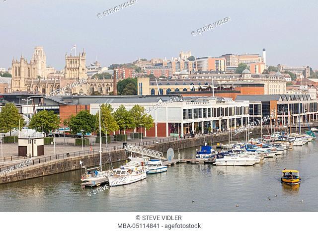 England, Somerset, Bristol, Waterfront and City Skyline