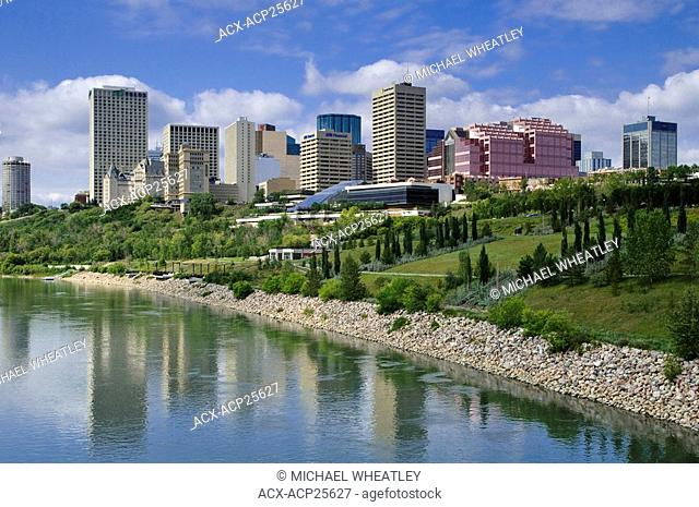 Edmonton skyline, N. Saskatchewan River, Alberta, Canada