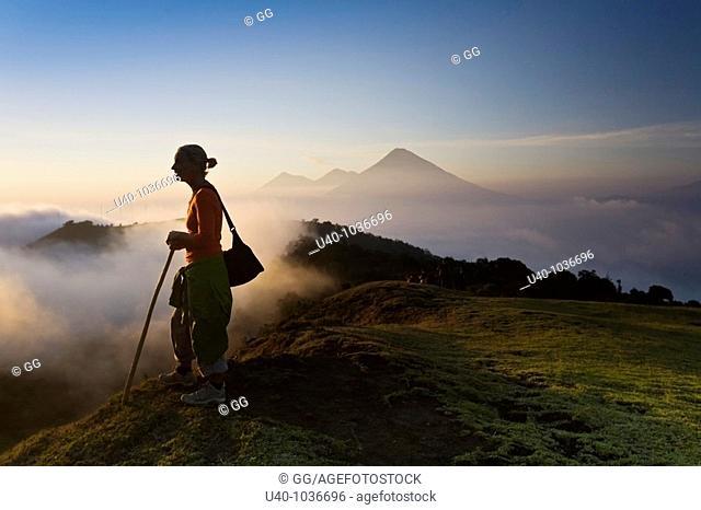 Hiker at sunset