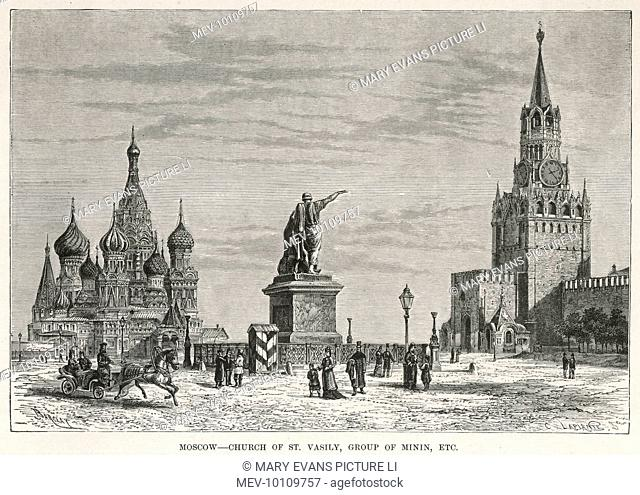 Moscow: Red Square, with the Church of St Vasili and the Group of Minin